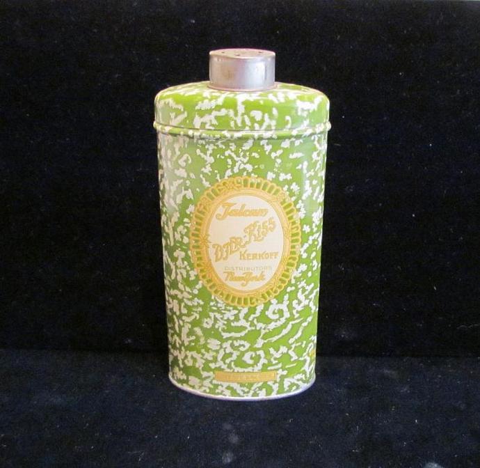 Djer Kiss Powder Tin 1920s Kerkoff Talcum Powder Tin Vintage Powder Tin Art Deco