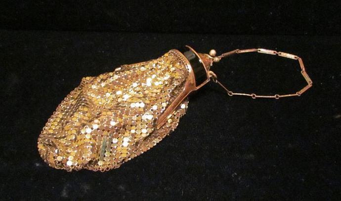 1920's Gold Mesh Purse Whiting And Davis Enamel Evening Bag Art Deco Purse