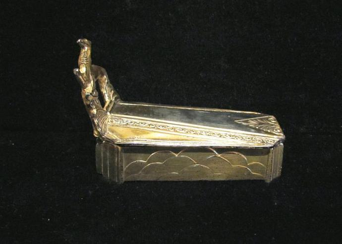 1920's Art Deco Powder Box Coffin & Gazelle Powder Jar Weidlich Bros. Compact