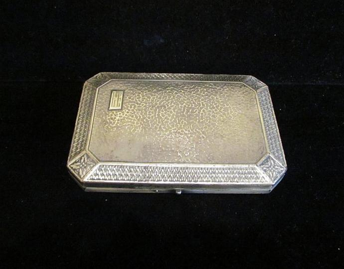 1900's Silver Vanity Box Compact Perfume Bottle Set Antique Box Mirror Compact