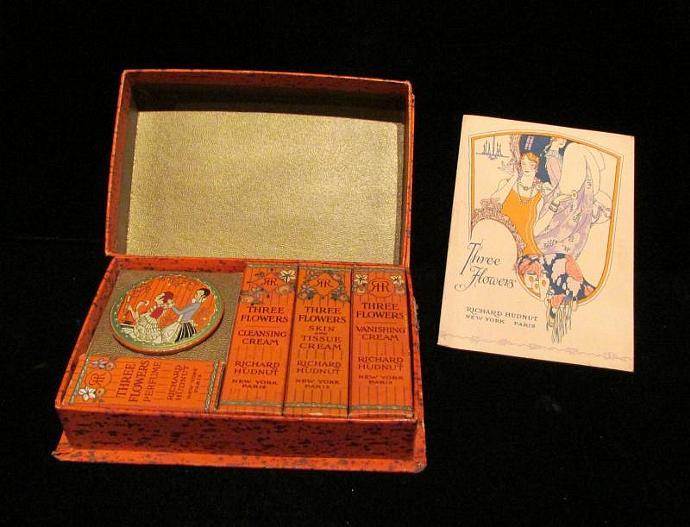 Richard Hudnut Three Flowers Powder Box Compact Box Acquaintance Box Art Deco