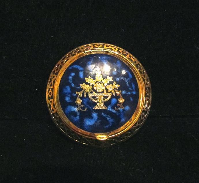 Vintage Guilloche Compact 1930s Gold Plated Powder & Rouge Compact UNUSED