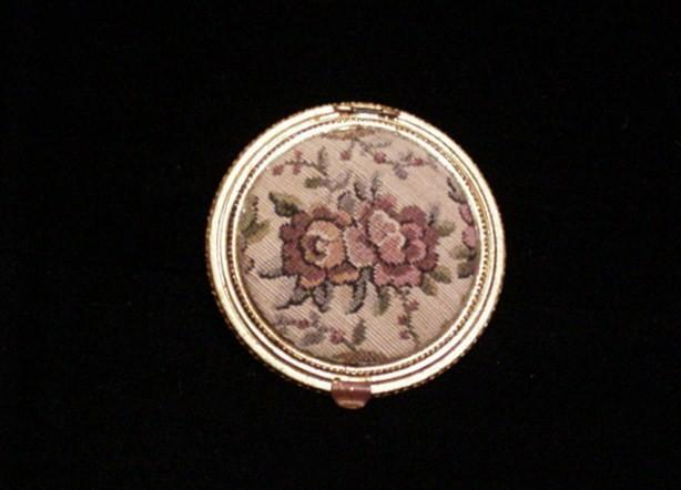 1930s Tapestry Powder Compact Petit Point Compact Mirror Compact
