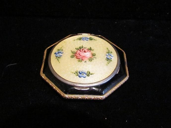 1930's Guilloche Enamel Compact Powder & Rouge Compact Mirror Compact STUNNING