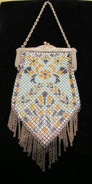 Mandalian Enamel Mesh Purse Art Deco Purse 1920's Flapper Purse Vintage Handbag