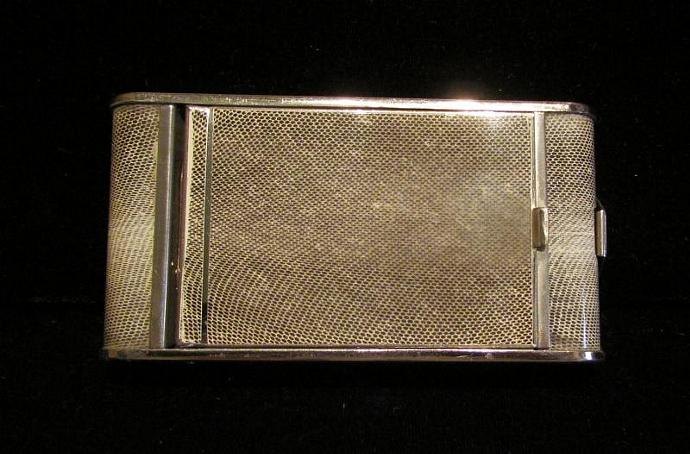 1930's Compact Purse Mirror Compact Snake Skin Style Compact