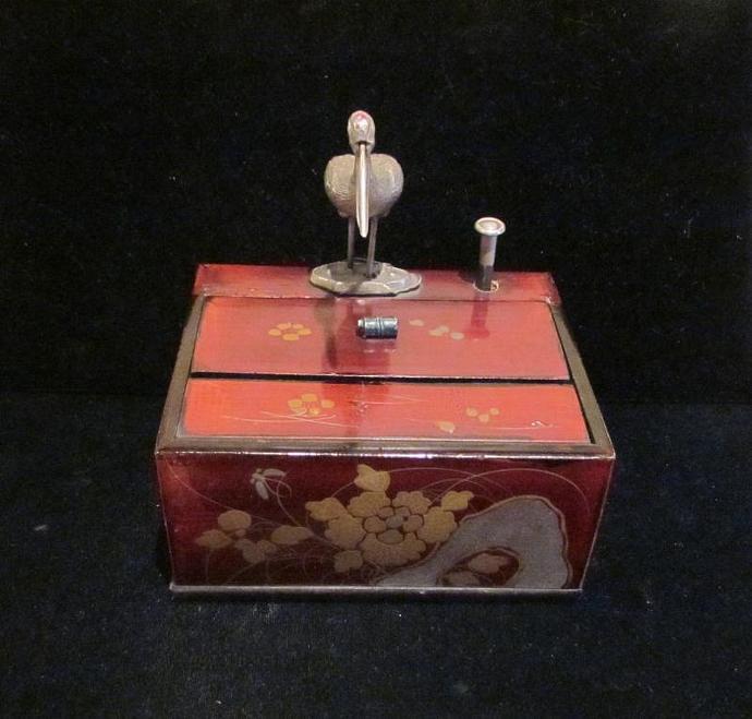 1920's Cigarette Dispenser Box Vintage Cigarette Box Japanese Bird Box Asian Box