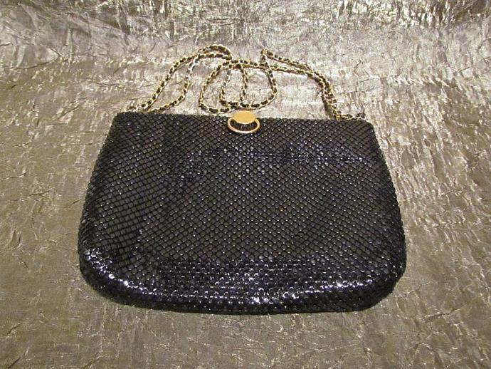 Vintage Black Mesh Purse Handbag Shoulder Bag Formal Purse Evening Bag 1980's