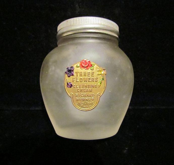 Richard Hudnut Jar 1920's Three Flowers Jar Vanishing Cream Frosted Jar Satin