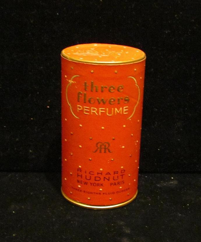 1930's Three Flowers Perfume Box Vintage Perfume Richard Hudnut Perfume Box Art
