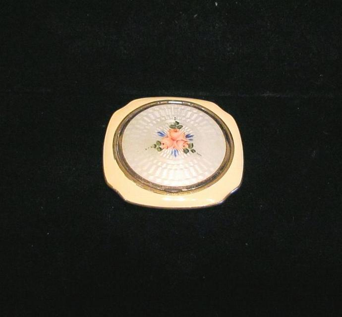 1930's Evans Guilloche Enamel Compact Vintage Powder Rouge And Mirror Compact