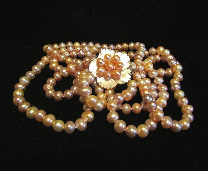 Pearl Necklace 3 Strand Pink Mother Of Pearl & Sterling Pearl Clasp OOAK