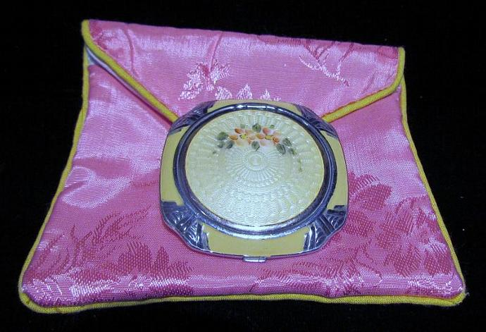 Vintage Compact Art Deco Evans Compact 1930's Guilloche Compact Sterling Silver