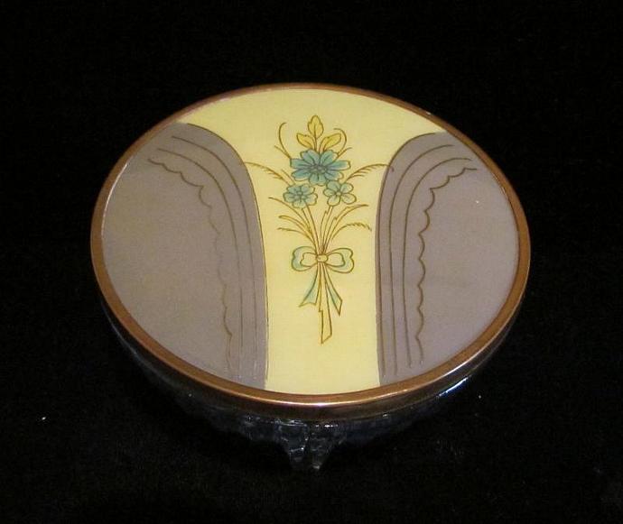 1940's Powder Jar Celluloid & Glass Powder Jar Art Deco Powder Jar Vintage