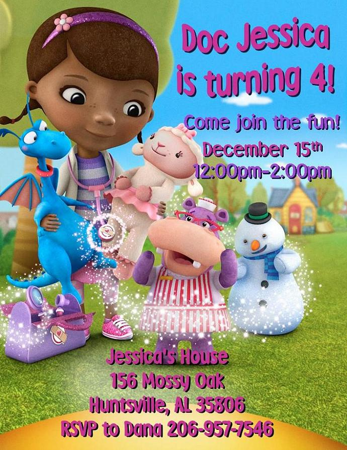 12 printed doc mcstuffins birthday by thenotecardlady on zibbet 12 printed doc mcstuffins birthday invitations with envelopes many styles filmwisefo
