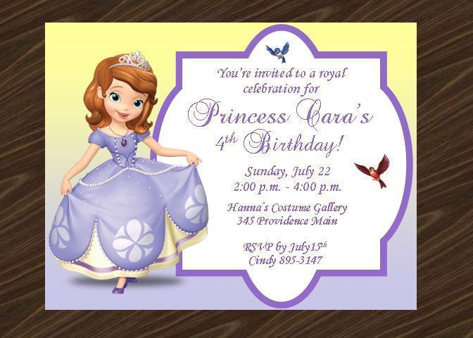12 Printed Sofia The First Birthday Party Invitations With Envelope