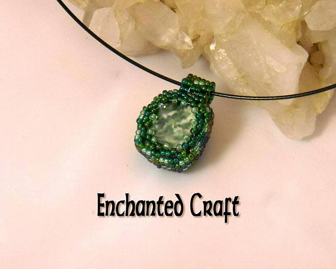 Green Moss Agate beaded pendant- emerald and lime beads