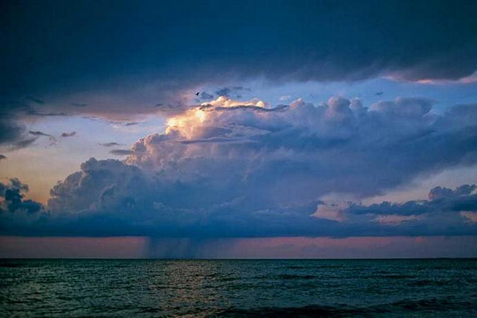 Lone Thunderstorm on Lake Erie at Sunset Fine Art Photo