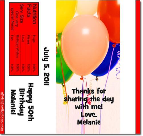 Balloons Candy Bar Wrappers **DOWNLOAD JPG IMMEDIATELY**