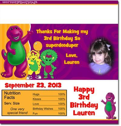 Barney Candy Bar Wrappers **DOWNLOAD JPG IMMEDIATELY**