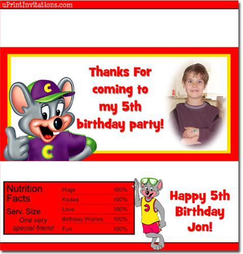 Chuck E Cheese Candy Bar Wrappers **DOWNLOAD JPG IMMEDIATELY**