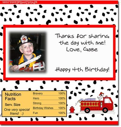 Fireman Candy Bar Wrappers **DOWNLOAD JPG IMMEDIATELY**