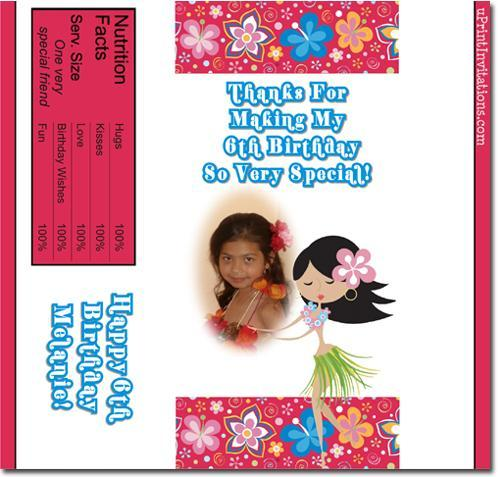 Luau Candy Bar Wrappers **DOWNLOAD JPG IMMEDIATELY**
