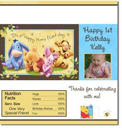 Winnie the Pooh Candy Bar Wrappers **DOWNLOAD JPG IMMEDIATELY**