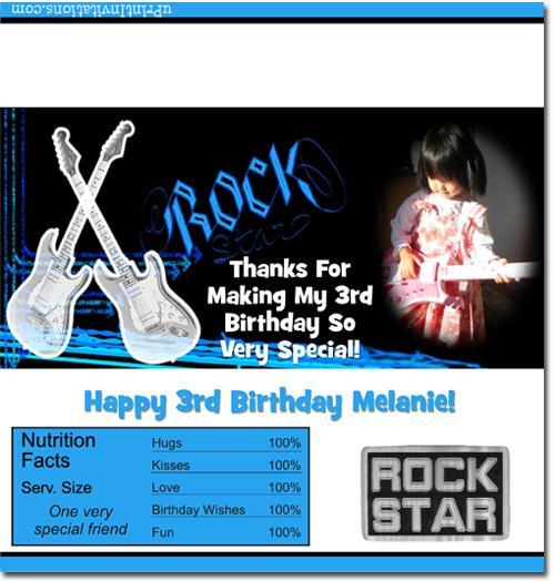 Rock Star Candy Bar Wrappers **DOWNLOAD JPG IMMEDIATELY**