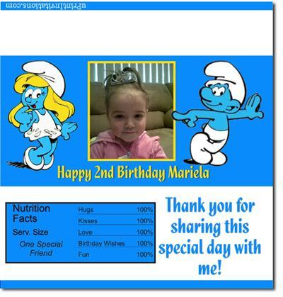 Smurfs Candy Bar Wrappers **DOWNLOAD JPG IMMEDIATELY**