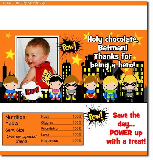 Super Hero Candy Bar Wrappers **DOWNLOAD JPG IMMEDIATELY**