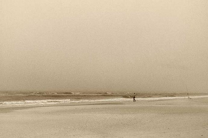 A Lone Fisherman Surf Fishing A Solitary Oneness With the Universe A Sepia Fine