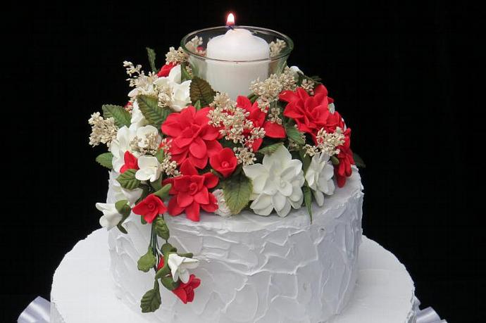 Red and White Cold Porcelain Floral Cake Topper with Candle