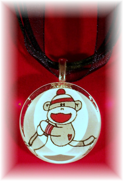 Glass Tile Pendant SOCK MONKEY Really CUTE!  FREE SHIPPING