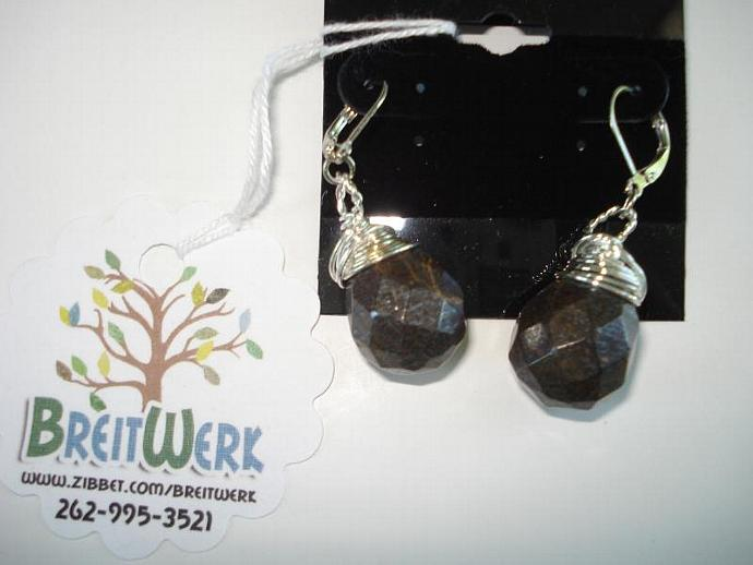Bronzite Wire-wrapped Earrings