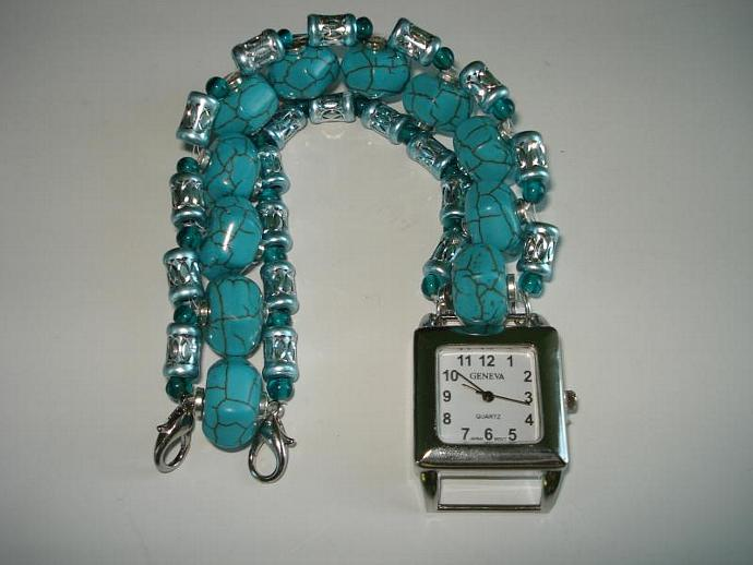 Crackled Turquoise Lantern Bead Bracelet Watch