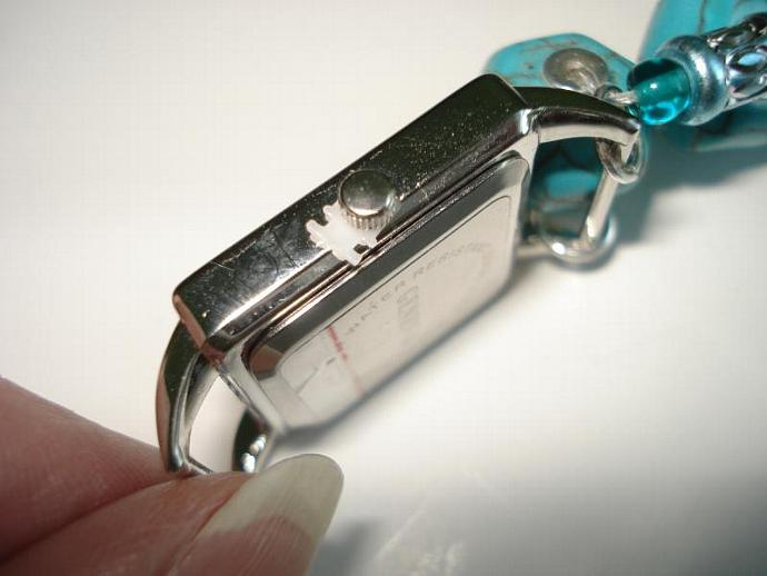 Crackled Turquoise Lantern Bead Bracelet Watch