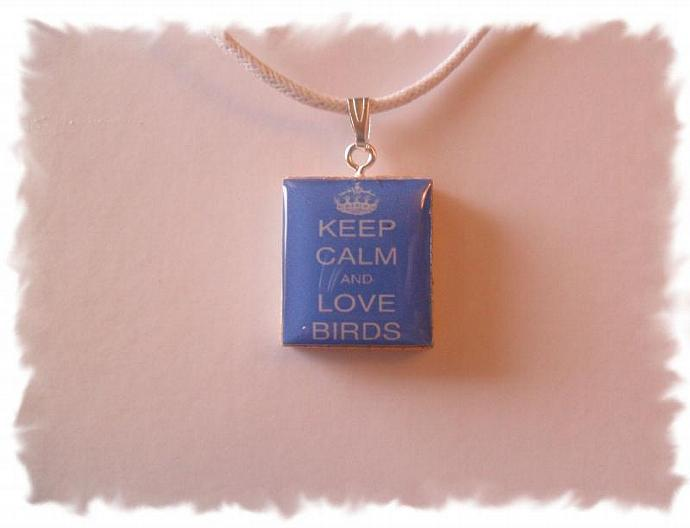 SALE Keep Calm & Love Birds Scrabble Tile Pendant Necklace
