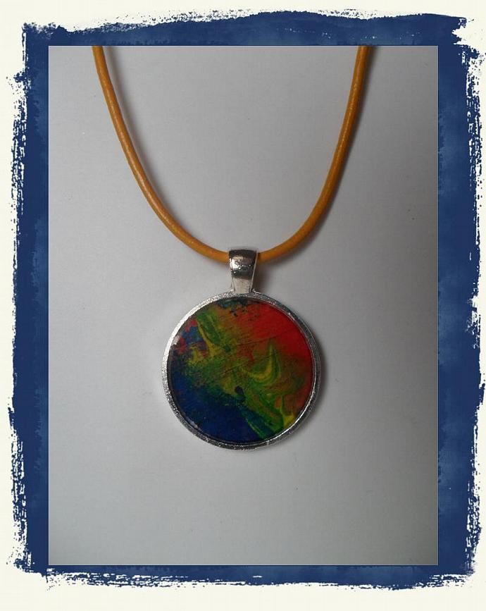 SALE Blue, green, Yellow, & orange Swirl 1 inch Circle  Pendant Tray Necklace