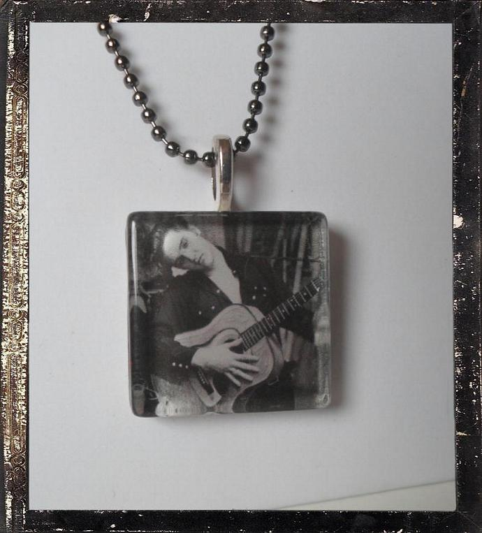Elvis Inspired Square Glass   Pendant  Necklace
