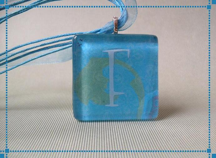 Clearance Turquoise Initial F Square Glass Pendant Necklace