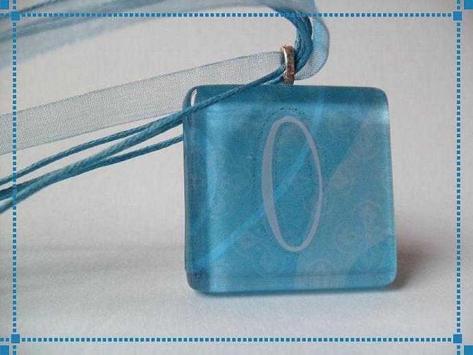 Clearance Turquoise Personalized Intial O Glass Pendant Necklace