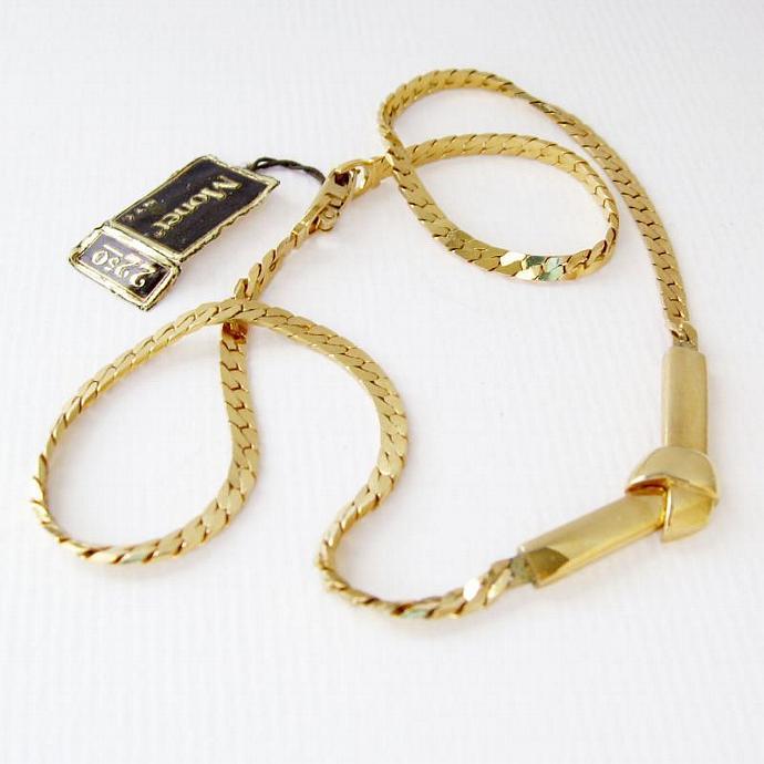 Vintage Signed Monet Gold Knot Pendant Necklace Choker Bowknot Group
