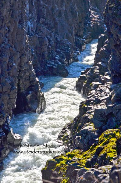 Art Photo Landscape on Metal of the Klickitat River Canyon, Roaring Rapids