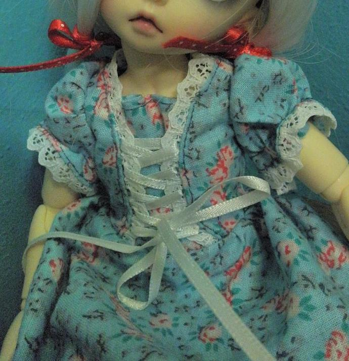 blue with pink roses Laced front lolita lacy doll dress YOsd