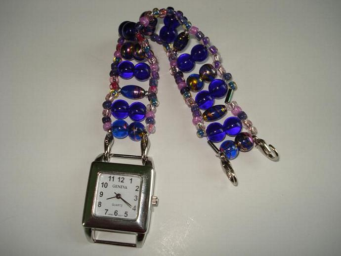 Metallic Swirl, Blue, Pink and Purple Glass Bead Bracelet Watch