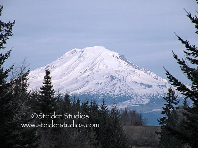 Fine Art Landscape Photography, Blank Note Card, Snow Topped Mt. Adams Under