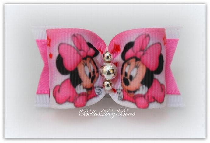 Baby Minnie ( Designer Inspired ) Bow with Color Coordinated Flags. Embellished
