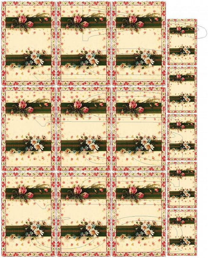 Shabby Chic digital  collage sheet for scrapbook and cards  DC547
