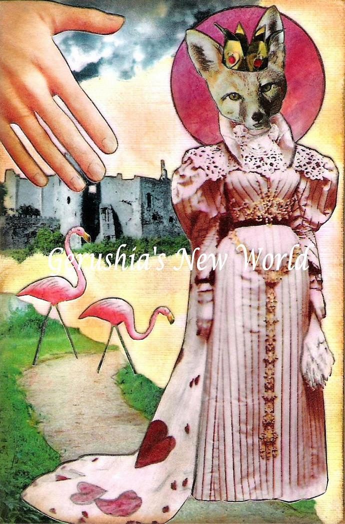She Wore Her Heart On Her Cape ~ Anthropomorphic Watercolor Collage Print